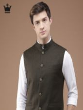 Buy Louis Philippe Brown Self-Design Ultra Fit Nehru Jacket for Rs. 3749