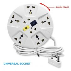 Elove Extension Board ,6 Amp Multi Plug Point Extension Cord (3 Meter) With Led Indicator And Universal Socket - White for Rs. 309