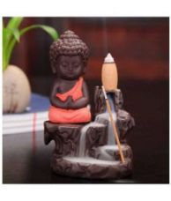 Flat 80% off on Craftam Monk Buddha Smoke Backflow Cone Incense Holder Decorative Showpiece With 5 Smoke Backflow Scented Cone