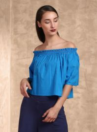 Buy Label Ritu Kumar Blue Solid Crop Top from Jabong