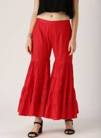 Buy Libas Red Solid Flared Sharara for Rs. 1049