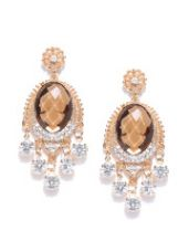 Get 80% off on Crunchy Fashion Gold-Toned & Brown Stone-Studded Classic Drop Earrings