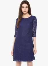 Flat 65% off on Mayra Blue Self Pattern Dress