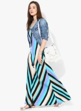 Flat 65% off on Mayra Multicoloured Printed Maxi Dress