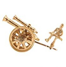 Indian Art Villa Brass Handcrafted Canon Figurine - Hotel Restaurant Home Decor Gift Item Showpiece Antique for Rs. 295