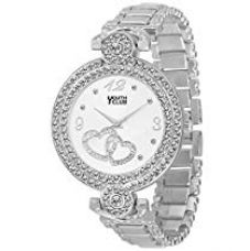 YOUTH CLUB Quartz Movement Analogue White Dial Silver Studded Party Wear Watch for Women - 10758 for Rs. 399