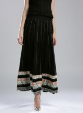 Get 65% off on W Black Printed Panelled Maxi Flared Skirt