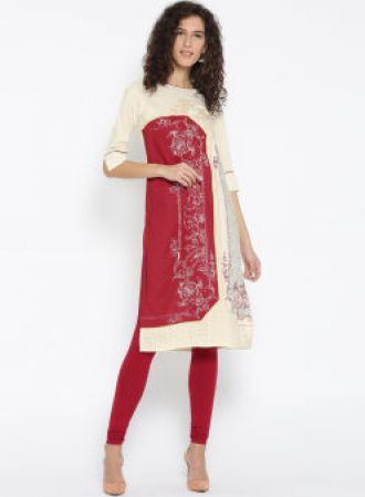 AURELIA Cream & Red Ethnic Motifs Straight Kurta for Rs. 524