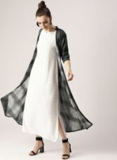 Libas White Checked Maxi Dress with Shrug for Rs. 1124