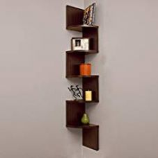 Buy DecorNation Corner Wall Mount Shelf Zigzag Shape, Rich Walnut from Amazon