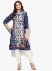Buy Biba Grey Printed Kurta for Rs. 1200