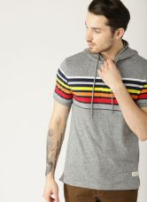 Flat 55% off on United Colors of Benetton Grey Melange Solid Hooded T-shirt