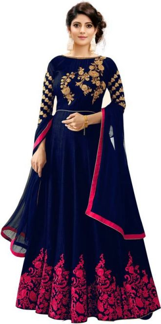 Trilok Fab Anarkali Gown  (Blue) for Rs. 999
