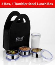 Buy Kkart Multicolour Stainless Steel Clip Lock Lunch Box with 3 Containers and 1 Tumbler for Rs. 449
