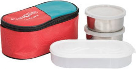 Get 72% off on Philco 3 in 1 Red Lunchbox-2 Steel Container1 Plastic Chapati tray