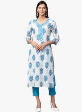 Flat 60% off on Jaipur Kurti White Printed Kurta Pants Set