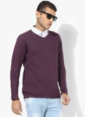 Buy SPYKAR Purple Solid Pullover Sweater for Rs. 839