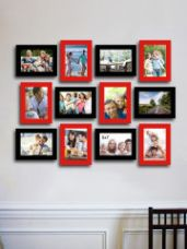 Flat 80% off on Art Street Set Of 12 Red & Black Photo Frames