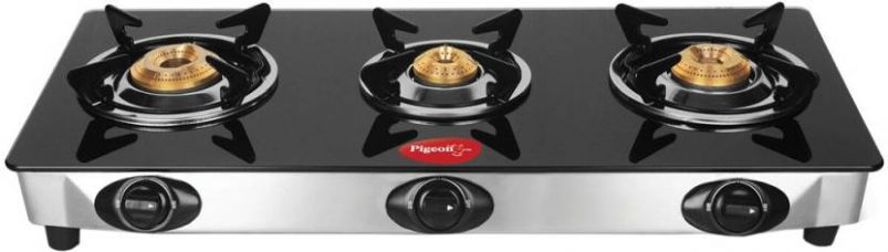 Buy Pigeon Ultra Glass, Stainless Steel Manual Gas Stove(3 Burners) from flipkart