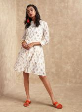 Get 35% off on Label Ritu Kumar Off White Self Design Shift Dress