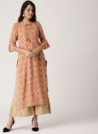 Get 40% off on Libas Green & Coral Pink Printed Kurta with Palazzos