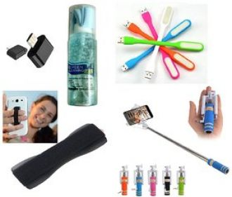 (S05) Combo of Selfie Stick, Finger Grip, USB LED Light, OTG Adopter and Cleaning Kit (Assorted Colors) for Rs. 219