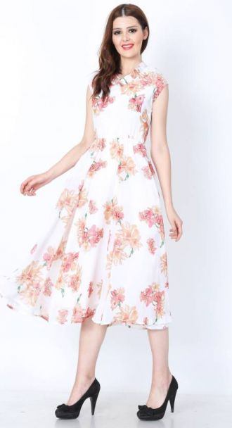Get 68% off on Shaper Women's Fit and Flare White Dress