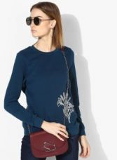 Flat 50% off on Vero Moda Blue Embroidered Sweater