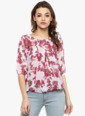 Flat 70% off on Mayra Pink Printed Blouse