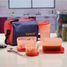 Flat 68% off on Topware Multi Color Plastic Lunch Box With Insulated Bag