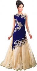 Buy Rudra Fashion Anarkali Gown  (Blue) from flipkart