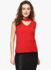 Flat 65% off on Mayra Red Solid Blouse