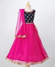 Buy Babyoye Velvet Choli With Lehenga & Dupatta Sequin Work - Navy Pink for Rs. 1005