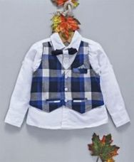 Buy OB Baoney Full Sleeves Shirt With Bow & Checked Mock Waistcoat - Blue for Rs. 427