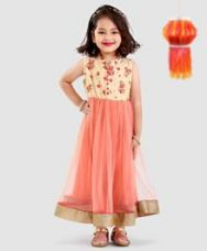 Buy Babyoye Sleeveless Solid Woven Embroidered Gown - Peach for Rs. 1199