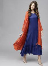 Libas Blue & Orange Layered Maxi Dress for Rs. 2219