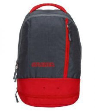 Flat 50% off on SPLENER Red & Grey College Bags Backpacks With Shoe Compartment- 20 Ltrs