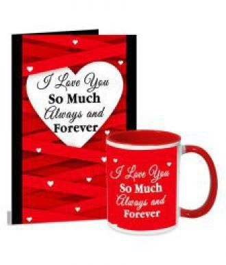 I Love You So Much  Valentines Day Greeting Card & Mug Combo for Rs. 399