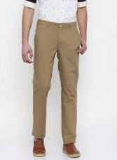 Park Avenue Park Avenue Men Khaki Tapered Fit Solid Chino Trousers for Rs. 799