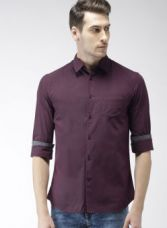 Buy Celio Maroon Slim Fit Solid Casual Shirt for Rs. 769