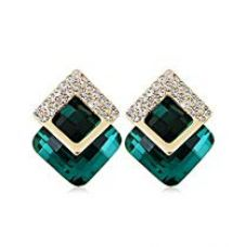 Get 89% off on Shining Diva Fashion Green Crystal Stylish Stud Tops Earrings for Wo...