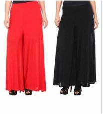Buy Combo of 2 Plain Cotton Lycra Palazzo ( Red and Black) from ShopClues