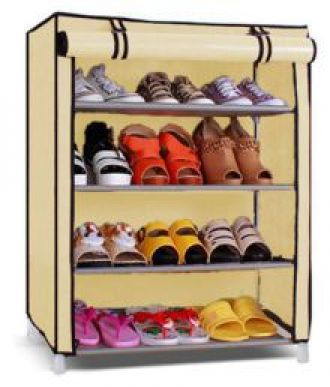 YUTIRITI 4 Layer Beige Shoe Rack with Cover Space Saver Storage Organiser - Beige for Rs. 699