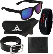 Adam Jones Blue Wayfarer Medium Sunglasses with free Silicone Digital LED Band Watch+Wallet+Belt for Rs. 249