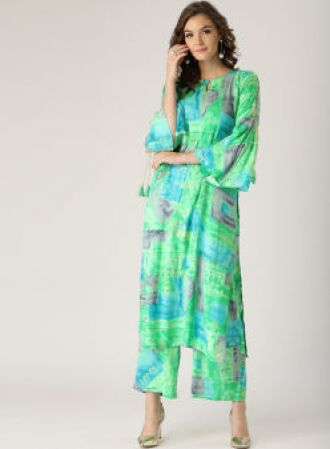 Flat 45% off on Libas Green & Turquoise Blue Printed Kurta with Palazzo