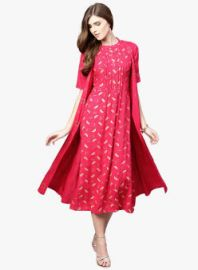 Buy Libas Pink & Beige Printed A-Line Dress from Jabong