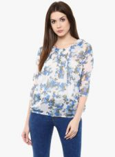 Mayra Blue Printed Tops for Rs. 348
