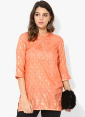 AURELIA Peach Printed Kurti for Rs. 399