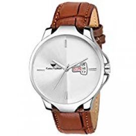 Fadiso fashion FF2033-WH BR Leather Strap Day & Date for Rs. 289