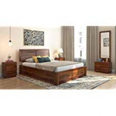 Buy WoodWingss Jakob Queen Size Bed with Hydraulic Storage (Teak) for Rs. 38,099